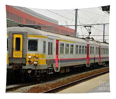 Belgium Railways Commuter Train At Brugge Railway Station Tapestry