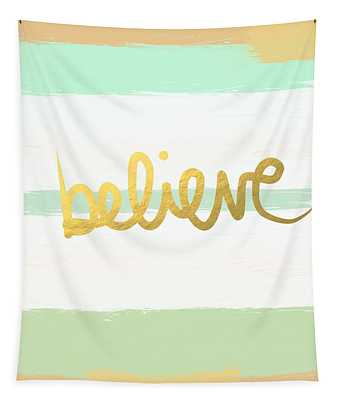 Believe In Mint And Gold Tapestry