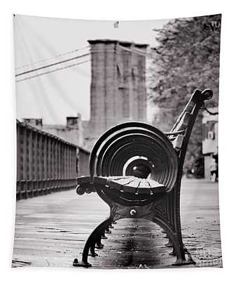 Bench's Circles And Brooklyn Bridge - Brooklyn Heights Promenade - New York City Tapestry