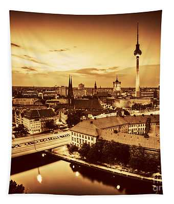 Berlin Germany Major Landmarks At Sunset In Gold Tone Tapestry