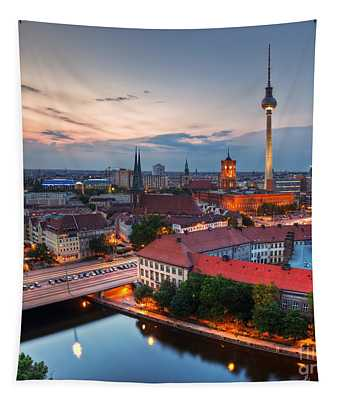 Berlin Germany Major Landmarks At Sunset Tapestry