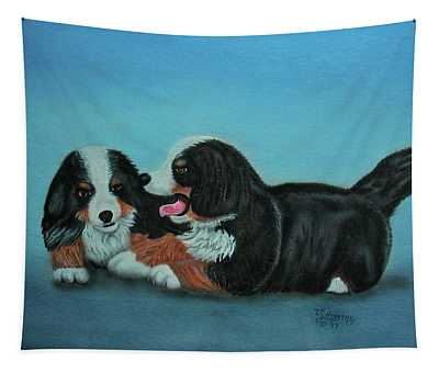 Bernese Mountain Puppies Tapestry