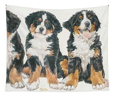 Bernese Mountain Dog Puppies Tapestry