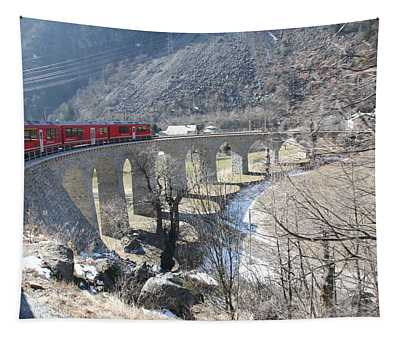Tapestry featuring the photograph Bernina Express In Winter by Travel Pics