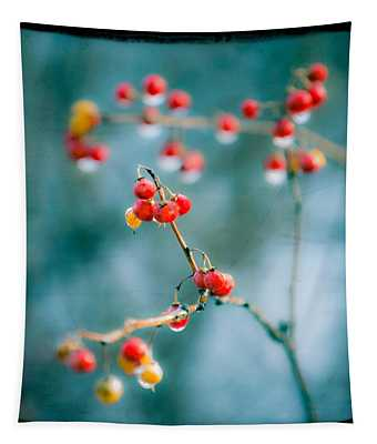 Berry Nice - Red Berries - Winter Frost Icy Red Berries - Gary Heller Tapestry