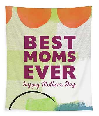Best Moms Card- Two Moms Greeting Card Tapestry