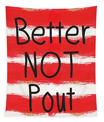 Better Not Pout - Striped Holiday Card Tapestry