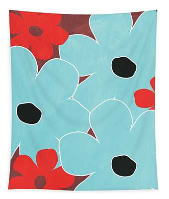 Big Blue Flowers Tapestry