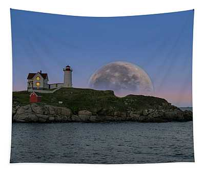 Big Moon Over Nubble Lighthouse Tapestry
