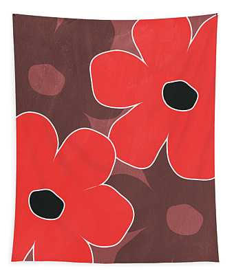 Big Red And Marsala Flowers Tapestry