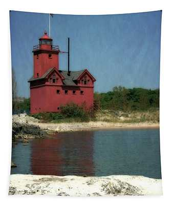 Big Red Holland Michigan Lighthouse Tapestry