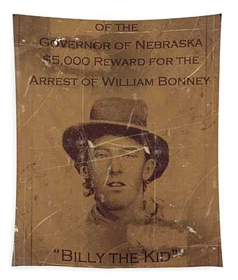 Billy The Kid Wanted Poster Tapestry