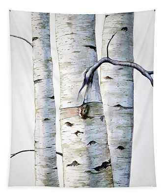 Birch Trees In Watercolor Tapestry