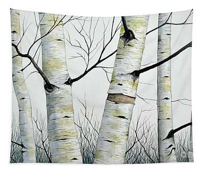 Birch Trees In The Forest In Watercolor Tapestry