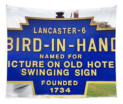 Bird-in-hand City Sign Tapestry
