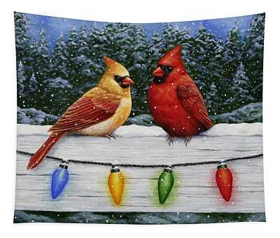 Bird Painting - Christmas Cardinals Tapestry