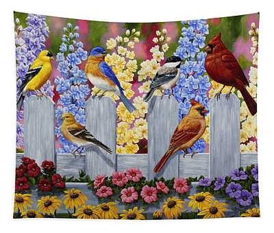 Bird Painting - Spring Garden Party Tapestry