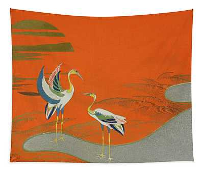Birds At Sunset On The Lake Tapestry