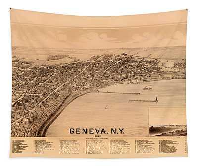 Bird's-eye View Of Geneva New York 1893 Tapestry