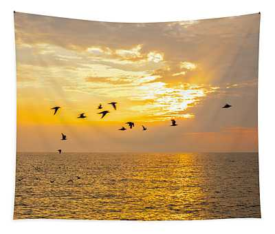 Birds In Lake Erie Sunset Tapestry