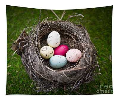 Bird's Nest With Easter Eggs Tapestry
