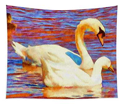 Birds On The Lake Tapestry
