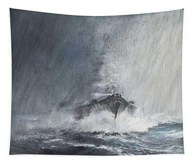 Bismarck Through Curtains Of Rain Tapestry