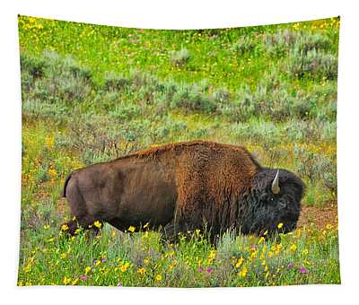 Bison Amid Wildflowers Tapestry