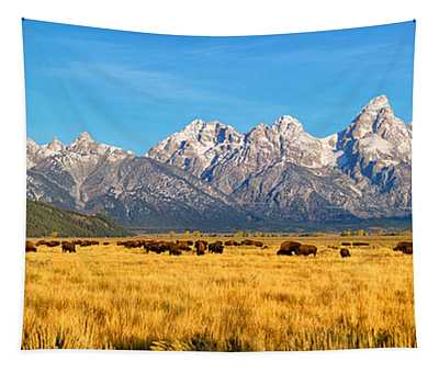 Bison Beneath The Tetons Limited Edition Panorama Tapestry