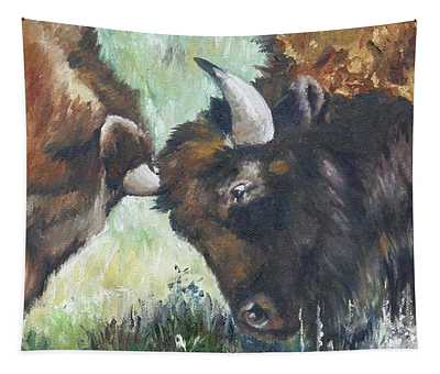 Bison Brawl Tapestry