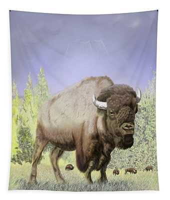 Bison On The Range Tapestry