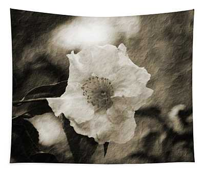 Black And White Flower With Texture Tapestry