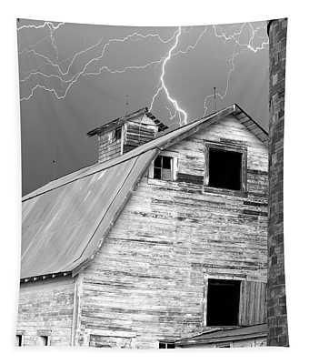 Black And White Old Barn Lightning Strikes Tapestry
