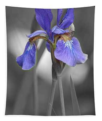 Black And White Purple Iris Tapestry