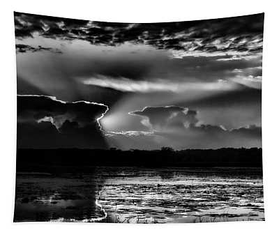 Black And White Sunset Over The Mead Wildlife Area Tapestry