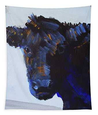 Black Cow Head Tapestry