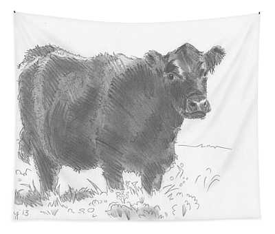 Black Cow Pencil Sketch Tapestry