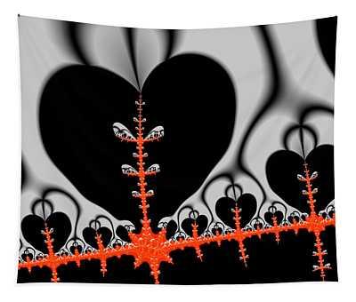 Black Hearts Red Fractal Tapestry