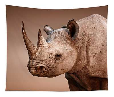 Black Rhinoceros Portrait Tapestry