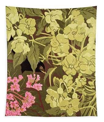 Blackbird In The Hellebores Tapestry