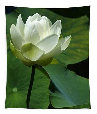 Blooming White Lotus Tapestry