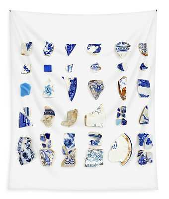Blue And White Beach China Tapestry