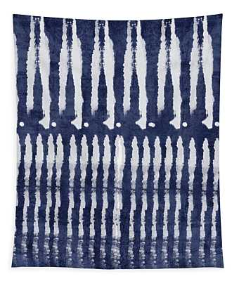 Blue And White Shibori Design Tapestry