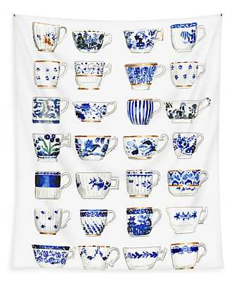 Blue And White Teacups Collage Tapestry