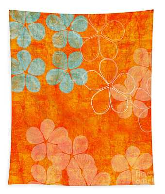 Blue Blossom On Orange Tapestry