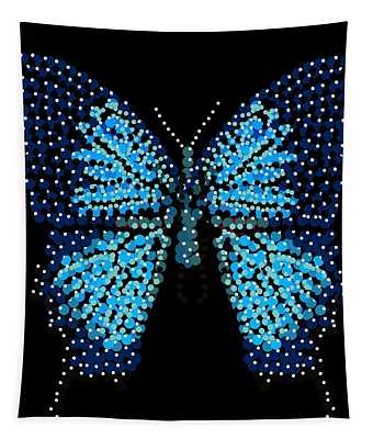 Blue Butterfly Black Background Tapestry