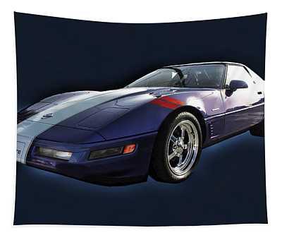 Blue Corvette Car Tapestry