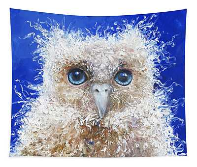 Blue Eyed Owl Painting Tapestry