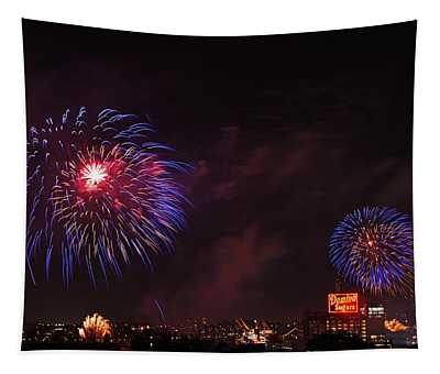 Blue Fireworks Over Domino Sugar Tapestry