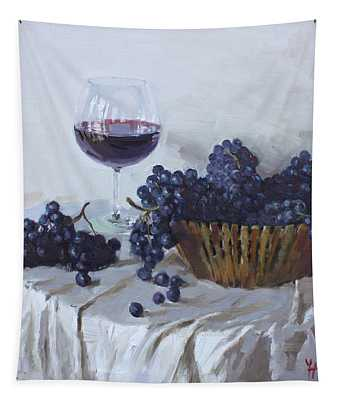 Blue Grapes And Wine Tapestry